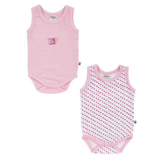 Body 2er Pack ohne Arm Baby Girl - Blumen Rosa - Gr. 74/80