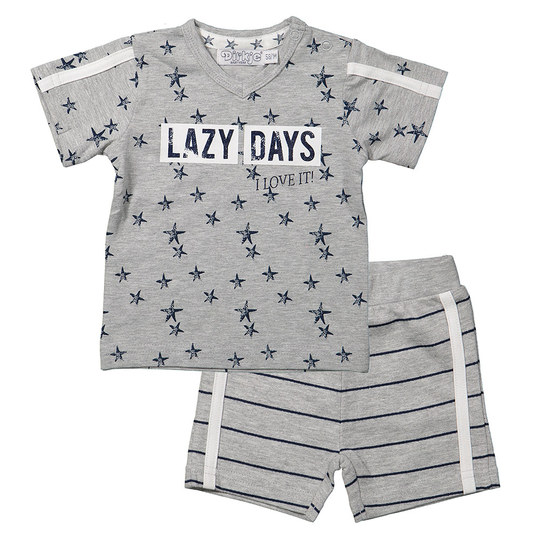 2-tlg. Set T-Shirt + Shorts - Lazy Days Grau Melange - Gr. 74