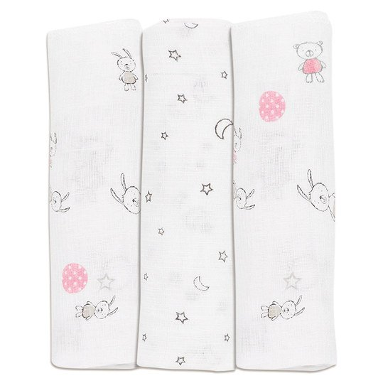 Gauze diaper pack of 3 80 x 80 cm - Friends Rosa