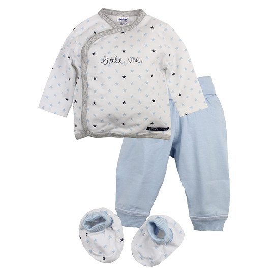 3-tlg. Set Wickelshirt + Hose + Schuhe - Little One - Hellblau - Gr. 62