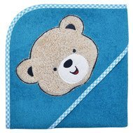 Hooded bath towel 80 x 80 cm - Teddy head - Petrol