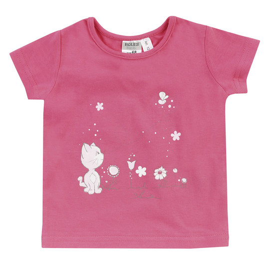 T-Shirt Basic Line - Cat in the Garden Pink - Gr. 74