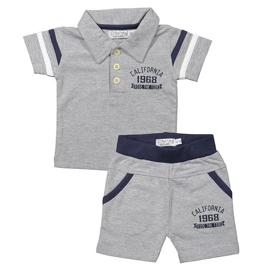 2-tlg. Set T-Shirt + Shorts - California Grau Melange - Gr. 74