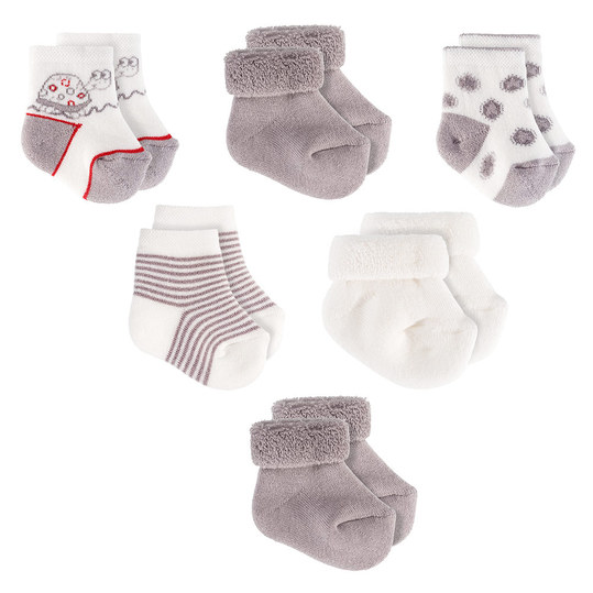 First socks pack of 6 - turtle - Ecru grey - size 0 - 3 months