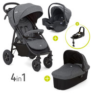 4 in 1 Kinderwagen-Set Literax 4 Air & Babywanne & Babyschale & Isofix i-Base & Regenschutz & Adapter - Chromium
