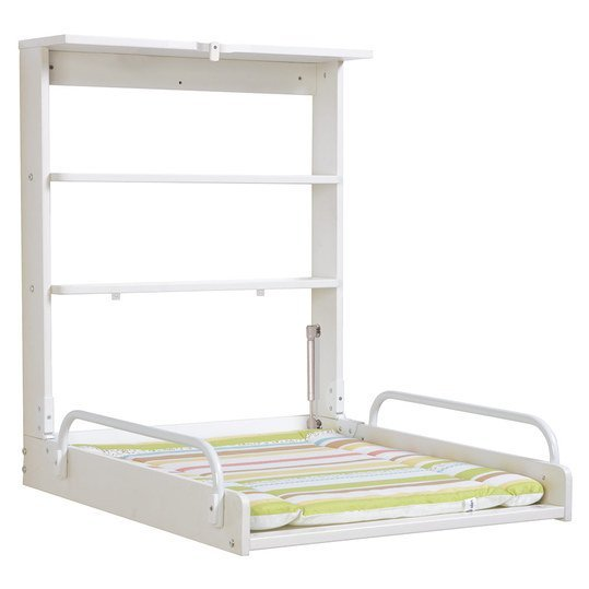 Wall-mounted roll-up shelf incl. support - White