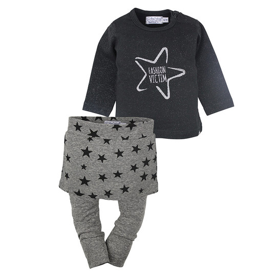 3-tlg. Set Langarmshirt + Rock + Leggings - Fashion Victim Schwarz Grau Melange - Gr. 86