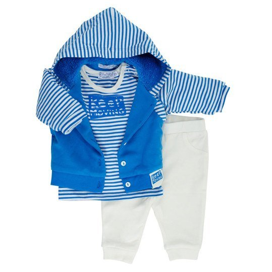 3-tlg. Set Jacke + Langarmshirt + Hose - Keep Moving Blau Offwhite - Gr. 56