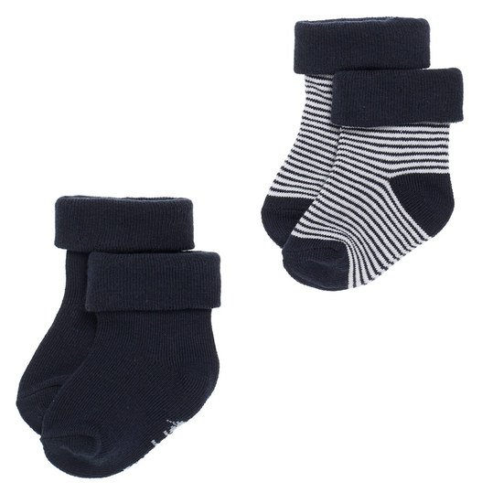 Socken 2er Pack - Guzzi Ringel Navy - Gr. 0 - 3 Monate