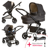 Kinderwagen-Set Atlantic Plus Trio Set inkl. Isofix Basis - Caviar