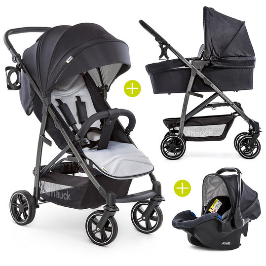Pram set Rapid 4S Plus Trioset with baby bath, car seat and pushchair (up to 25 kg) - Caviar Silver