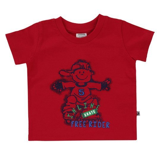 T-Shirt Basic Line - Boys - Rot - Gr. 74
