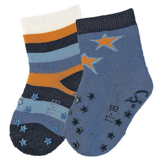 ABS-Krabbelsocken 2er Pack - Sterne & Ringel Blau Orange - Gr. 17/18