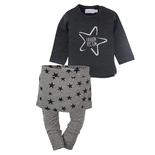 3-tlg. Set Langarmshirt + Rock + Leggings - Fashion Victim Schwarz Grau Melange - Gr. 62