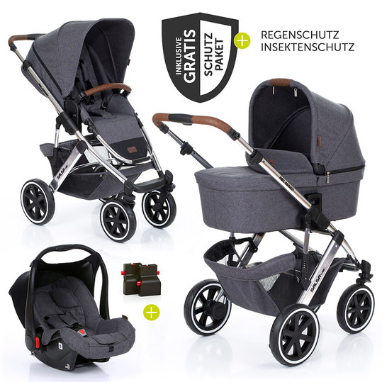 3in1 Kinderwagenset Salsa 4 Air - Diamond Special Edition - inkl. Babywanne, Babyschale & Zubehörpaket - Asphalt