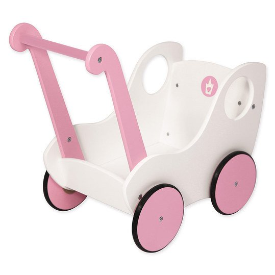 Holz-Puppenwagen Princess World - Weiß Rosa