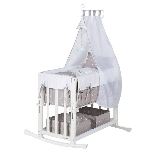 Cot 4 in 1 Babysitter White incl. Accessories - Indibär - Grey