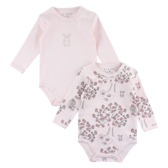 Body 2er Pack Langarm - Grow Maus Rosa - Gr. 62