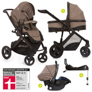 4in1 Kinderwagen-Set Maxan 4 Plus inkl. Babyschale Comfort Fix und Isofix Basis - Melange Brown