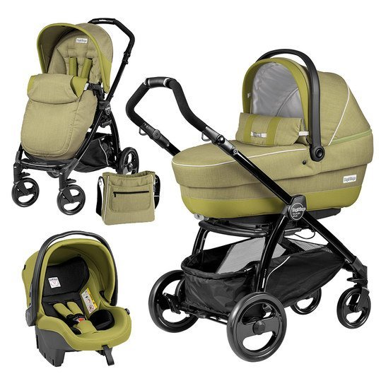 Kinderwagen-Set XL Book Plus Completo Modular Gestell Schwarz - Green Tea