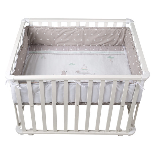 Playpen white incl. insert 75 x 100 cm - Indibär - Grey