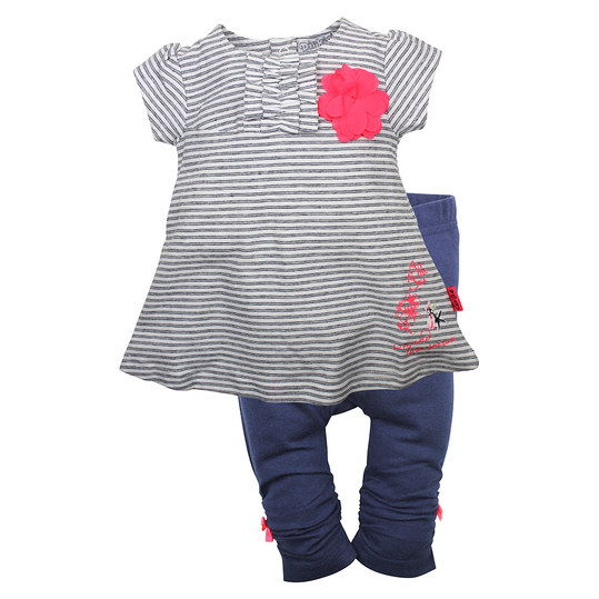 2-tlg. Set Kleid + Leggings - Blume Navy - Gr. 74