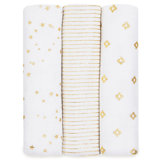 Mullwindel 3er Pack Classic Swaddles 120 x 120 cm - Metallic Gold