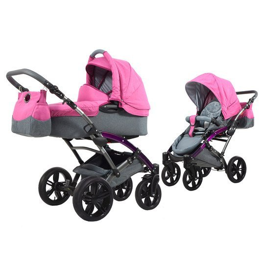 Kombi-Kinderwagen Voletto Happy Colour - Grau Pink