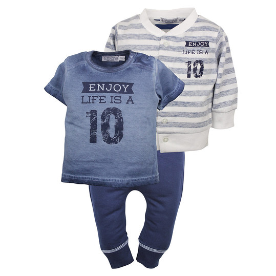 3-tlg. Set T-Shirt + Hose + Jacke - Enjoy Blau Navy - Gr. 56
