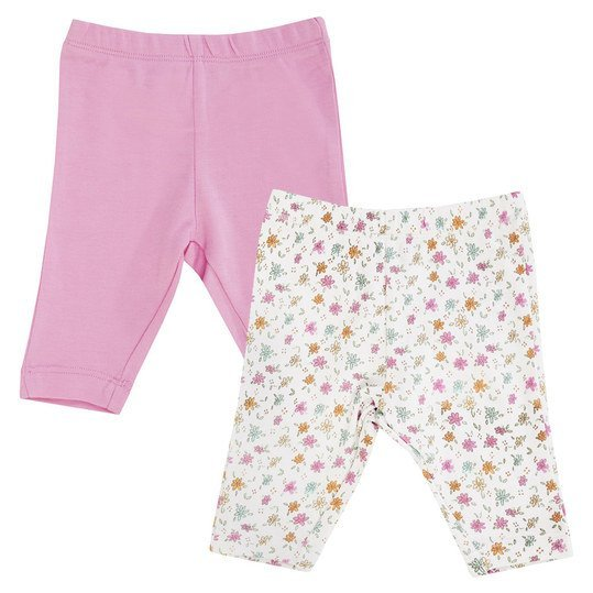 Leggings 2er Pack Girls - Weiß Rosa - Gr. 74/80