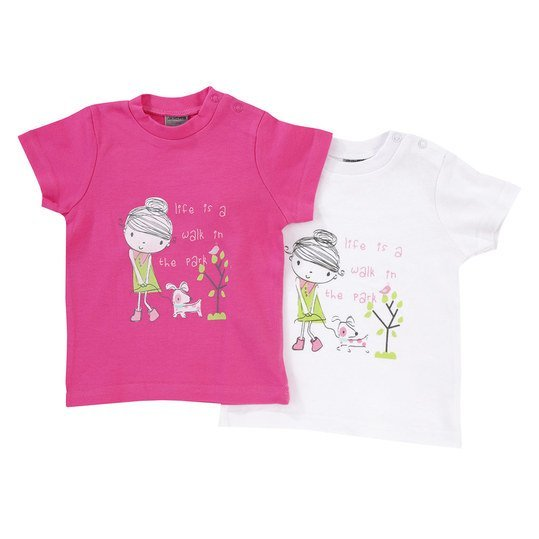 T-Shirt 2er Pack - Walk in the Park - Pink Weiß - Gr. 62/68