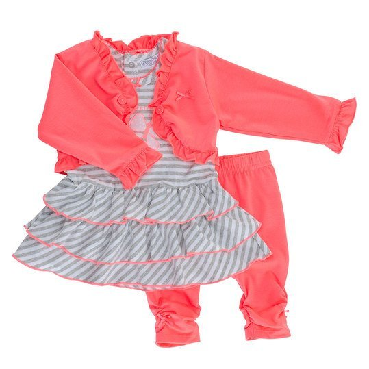 3-tlg. Set Kleid + Leggings + Jacke - Butterfly - Pink - Gr. 56