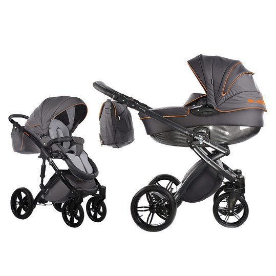 Kombi-Kinderwagen Alive Be Carbon - Grau Orange