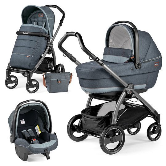 Kinderwagen-Set Book Plus S XL Completo Modular Gestell Jet / Anthrazit - Blue Denim