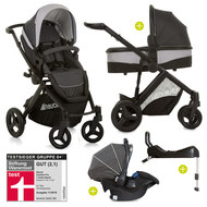 4in1 Kinderwagen-Set Maxan 4 Plus inkl. Babyschale Comfort Fix und Isofix Basis - Melange Charcoal