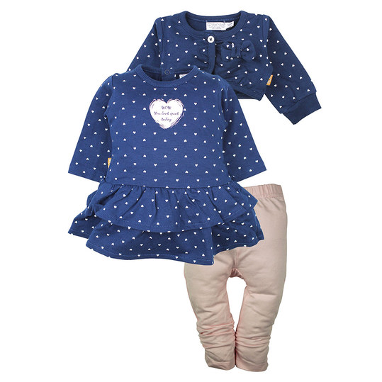 3-tlg. Set Kleid + Leggings + Bolero - Herzen Navy Rosa - Gr. 80