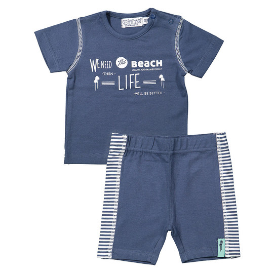 2-tlg. Set T-Shirt + Shorts - Beach Blau - Gr. 74
