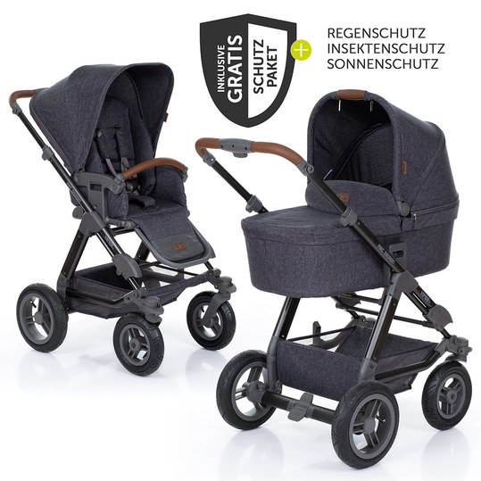 Viper 4 pushchair with pneumatic wheels - incl. baby bath, sports seat and XXL accessories set - Street