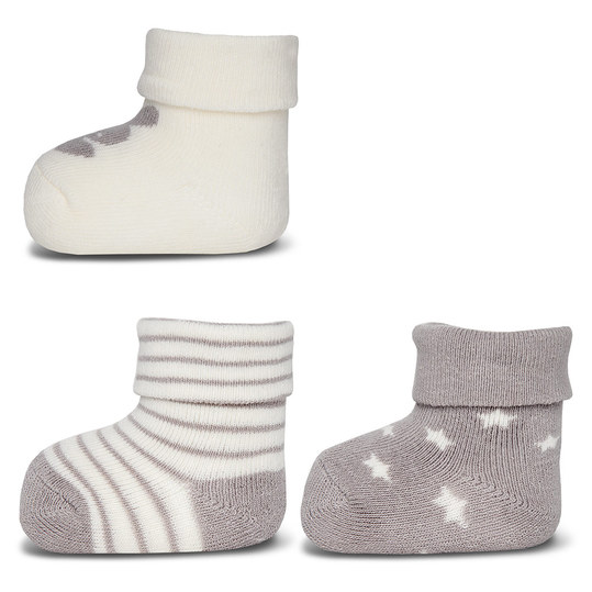 First socks pack of 3 - Grey Offwhite - size 0 - 4 months