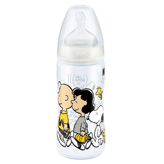 PP-Flasche First Choice+ 300 ml - Silikon Gr. 2 M - Snoopy & Die Peanuts - Weiß