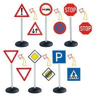 6-tlg. Set Verkehrsschilder Traffic-Signs Mega-Set