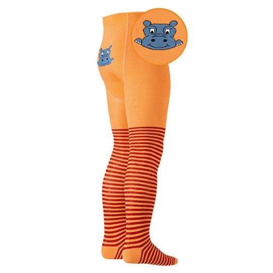 Strumpfhose Nilpferd - Orange - Gr. 98 / 104