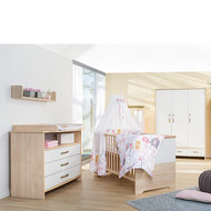 Kinderzimmer Honey mit 3-türigem Schrank, Bett, Wickelkommode