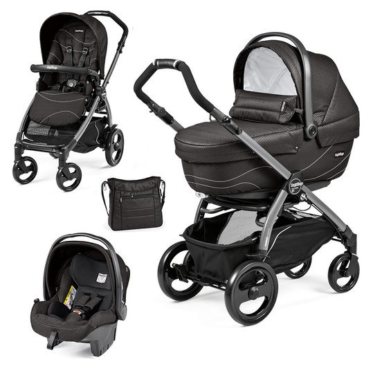 Kinderwagen-Set Book 51 XL Sportivo Modular Gestell Jet Anthrazit - Bloom Black