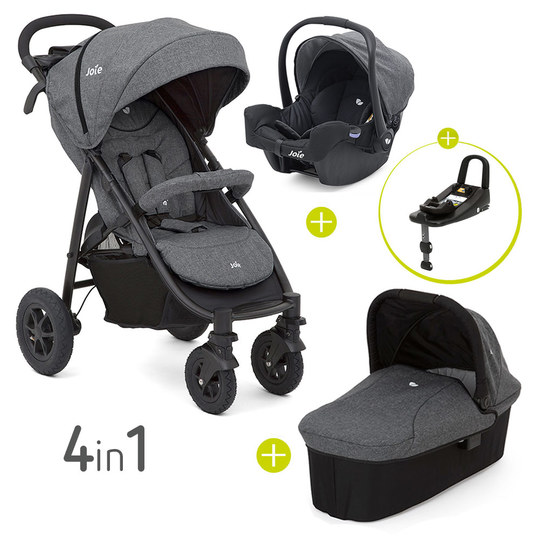 4 in 1 Kinderwagen-Set Litetrax 4 Air & Babywanne & Babyschale & Isofix i-Base & Regenschutz & Adapter - Chromium