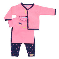 3-tlg. Set T-Shirt + Hose + Jacke - Sunshine Pink Navy