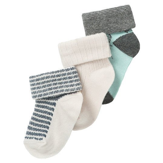 Socken 3er Pack Dam - Grau Mint - Gr. 0-3 Monate