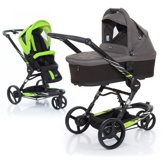 Kombi-Kinderwagen 3 Tec PLUS - Lime inkl. Tragewanne PLUS Black Cloud