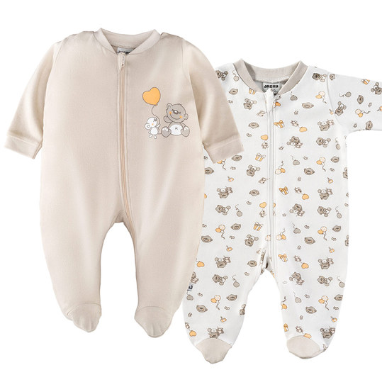 Pajamas One Piece Suit - Pack of 2 - Lovely Bear Offwhite Beige - Gr. 50/56