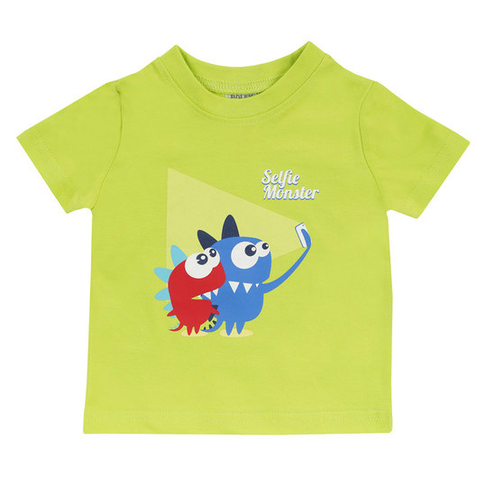 T-Shirt Basic Line - Selfie Monster Grün - Gr. 74